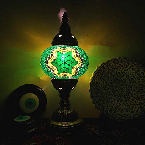 Lámpara de mesa de mosaico turco de nuevo estilo Lámpara de cama romántica de vidrio Art Déco vintage Lámpara de cama romántica