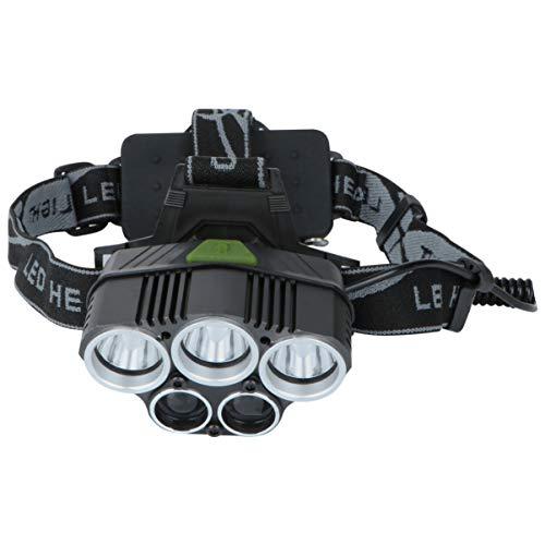 UONLYTECH 5 LED 3T6 Faro Recargable Linterna Impermeable Linterna Cabeza para Outdoor Running Camping 2 Luz Blanca Sin Batería (Negro)