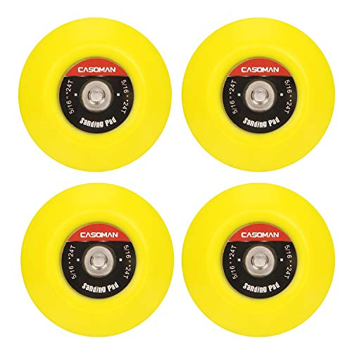 "CASOMAN 3-Inch Dual-Action Hook & Loop Fastener Flexible Backing Plate 3""/ 75mm Polishing Pad with 5/16""-24 Threads, 4 PCS Set"