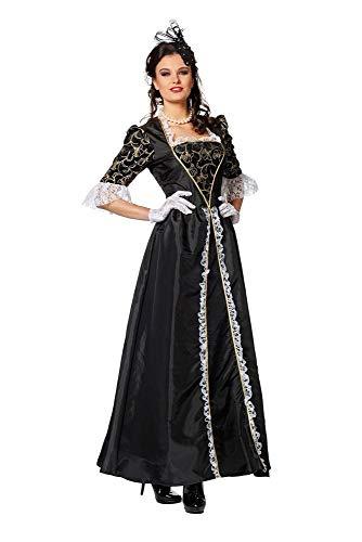 shoperama Marquise Damen Barock Rokoko Kostüm TAFT Kleid Gräfin Adlige französisch Renaissance Mätresse Madame de Pompadour Karneval, Farbe:Schwarz, Größe:46