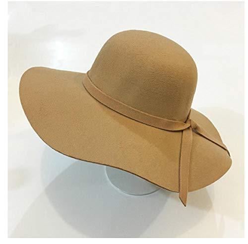 Geekcook Unisex Gorra Sombrero de Lana Grande Lana Estilo británico Jazz Top Hat Sombrero de ala Ancha-Camello Infantil