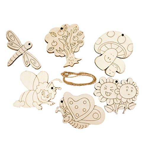 Amosfun 6pcs Wooden Cutout with Holes Dragonfly Sunflower Bee Butterfly Mushroom Trees Wood Slice Shapes for DIY Crafts Painting Engraving Gift Tags