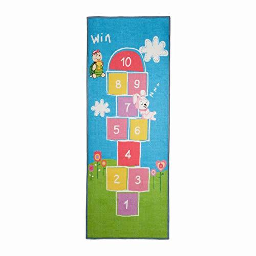Relaxdays Kinderteppich Hüpfspiel, 180 x 70 cm, 10 Hüpfkästchen, Kurzflor, gummierte Unterseite, Spielteppich, bunt, 1 Stück