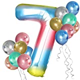 Simpeak Globo Número 7, Globo de Cumpleaños Niño 7 años + 24 Globos Multicolores + 1 Rollo de Cinta Láser Plateado + 1 Pajita, Set Globos Decoración para Fiesta Cumpleaños Party
