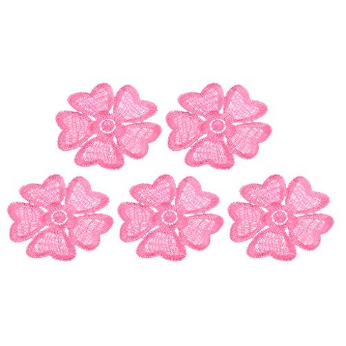 Hellery 5 Piezas Bordado Floral Coser en Parches Apliques Flor Bordado Insignia DIY - Rosado, 5,5 cm