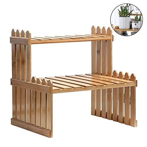 Estantes para plantas, soporte de flores, soporte de bambú, soporte de almacenamiento para plantas, 2 niveles para el hogar, oficina o escritorio
