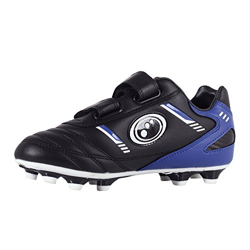 Optimum Jungen Tribal-Velcro Moulded Stud Fußballschuhe, Schwarz (Schwarz/Blau), 27 EU