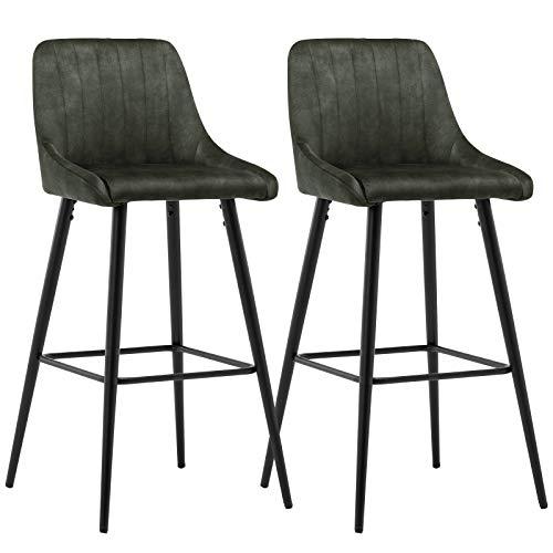 Duhome 2X Barhocker Barstuhl Gestell aus Metall Tresenhocker Bar Sessel gut gepolstert mit Lehne 5162 Vintage, Farbe:Grün, Material:Samt Vintage