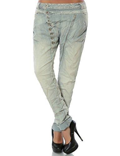 Daleus Damen Boyfriend Jeans Hose Reißverschluss Knopfleiste No 14145 Hellgrau 42 / XL