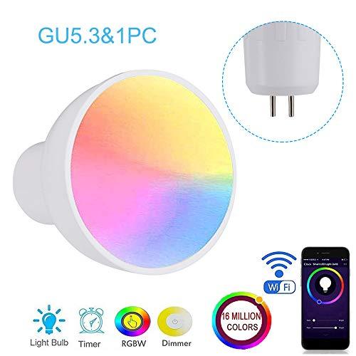 Lilideni GU10 / E27 / GU5.3 WiFi Bombilla de luz Inteligente LED RGBW 6W Lámpara de Intensidad Regulable Taza Compatible con Alexa y Google-Home Remote