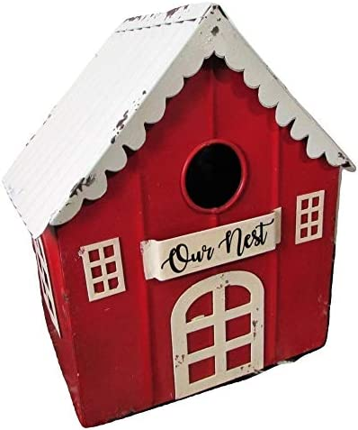 OFFicial shop Rustic Galvanized Metal Birdhouse Bird Courier shipping free shipping House Our Cottag Red Nest