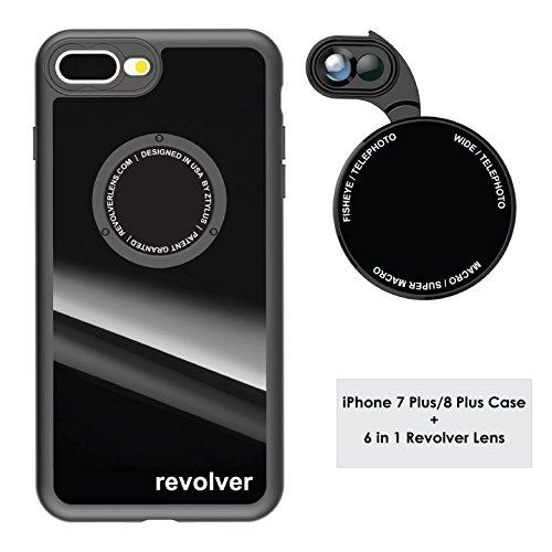 Ztylus Gloss Black Revolver M Series Camera Kit: 6 in 1 Lens with Case for iPhone 7 Plus / 8 Plus - 2X Telephoto Lens, Macro, Super Macro Lens, Wide Angle Lens (Gloss Black)