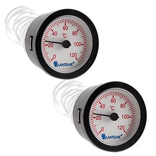 Lantelme Heizung Zeiger Thermometer 2 Stück Set Warmwasser Boiler Wasser Temperaturanzeige Kapillarthermometer 7319