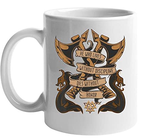 Norse Mythology Mug - Viking Mythology Ragnar Weapon Mug - Odin Warriors Nordic Mug - Warrior Skull Mug - Gift For a Vikings Lover, Norse Mythology Fans, Movie Fan (Ceramic, 11 Oz)