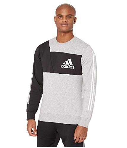 adidas Sudadera deportiva para hombre con bloque de color - F1954MSID301, S, gris jaspeado/negro (Medium Grey Heather/Black)