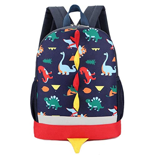 Kids Backpack Children Dinosaur Bag Cartoon Rucksack for Preschool Boys Girls Toddler Kindergarten (Dark Blue)
