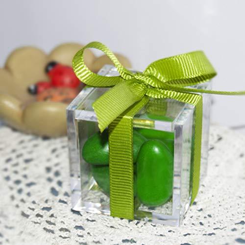 Omada Design caja de cubo de plexiglás transparente de 5 x 5 x 5 cm, 48 piezas con tapa, para favores de boda, confirmaciones, comuniones, bautizos y fiestas de graduación, Made in Italy