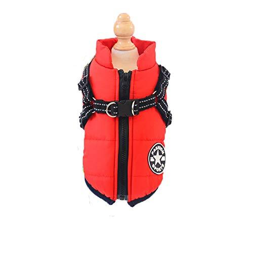 ABRRLO Pet Hondenjas, vest, twee voet, waterdicht, dik fleece, warme mantel voor puppy's kat winter koud weer kleding, Small, B-rood