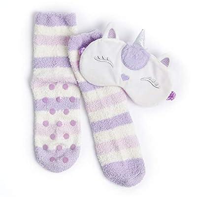 Calcetín o pantuflas para mujer con antifaz a juego, agarre suave cepillado para dormir, ropa de dormir Morado Lunar Unicornio Eyemask/Calcetines 2 unidades Talla única