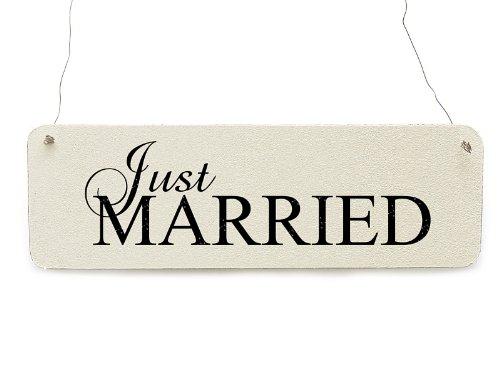 Interluxe Shabby Vintage Schild Türschild JUST Married 4 Hochzeit Dekoschild Landhaus Chic Dekoration
