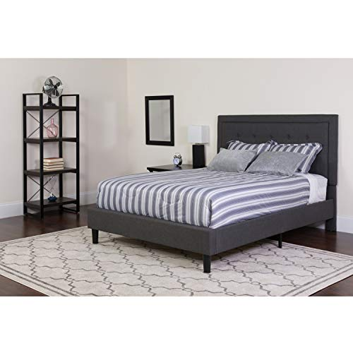 Flash Furniture SL-BK5-Q-DG-GG Queen Platform Bed | Queen Size Platform Bed Frame with Headboard , Dark Gray