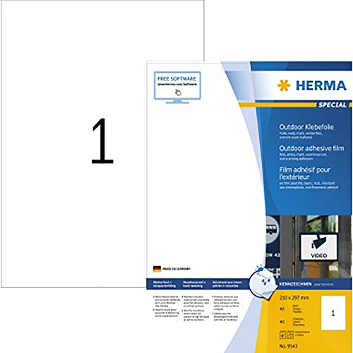 HERMA 9543 Wetterfeste Folien-Etiketten DIN A4 (210 x 297 mm, 40 Blatt, Polyethylen, matt) selbstklebend, bedruckbar, extrem stark haftende Outdoor Klebefolie, 40 Klebeetiketten, weiß
