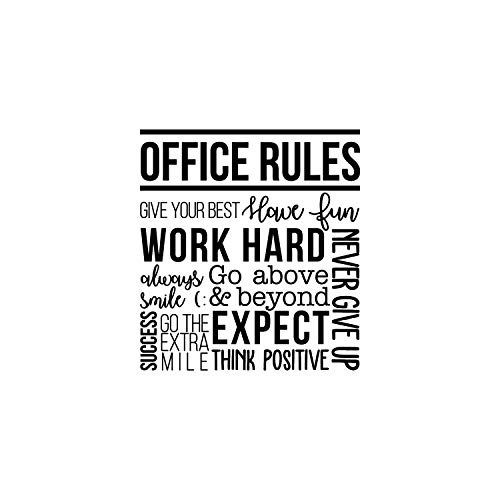 "Vinyl Wall Art Decal - Office Rules Give Your Best Work Hard Never Give Up Think Positive - 40"" x 36.5"" - Modern Motivational Quote for Home Office Workplace School Decoration Sticker (Black)"