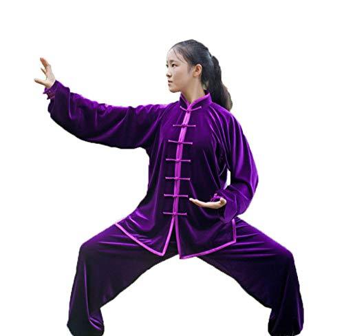 Tai Chi Uniform Und Samt Halten Warm Atmungsaktiv Tai Chi Kleidung Kung Fu Qi Gong Kleidung Kampfsport Kleidung Gruppenleistungskleidung Herbst Winter Style,Purple-XL