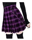 CYSTYLE Damen Mädchen Kariert Rock A-line Träger Mini Plissiert Rock Hosenträger Faltenrock Rock Mini Skaterrock Karneval Kleid Unterröcke (Lila, S)