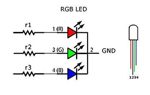 50 Unidades LED RGB c/átodo com/ún 4 Pines F5 5 mm Diode ILS