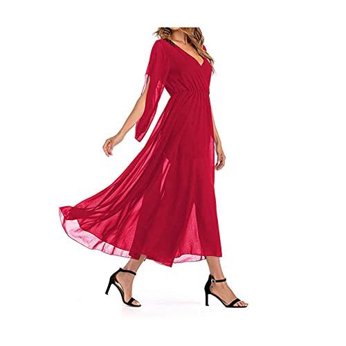 Sukienki Damskie Letnie Jednokolorowe 1/2 Rękaw Rozkloszowane Koronkowe Pół Rękawów Przezroczysta Duża Sukienka