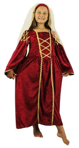 Mädchen Tudor Prinzessin Kostüm Kleid in Velouroptik und Kopfteil mit Schleier
