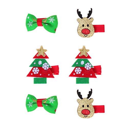 Holibanna 6 Piezas Pinzas para el Cabello de Navidad encantadores Dibujos Animados pasadores de Navidad árbol de...