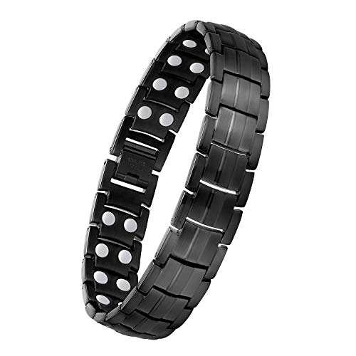 Feraco Titanium Magnetic Bracelet for Men Arthritis Pain Relief Carpal Tunnel Health Double Row Strong Magnets Ultra Strength Magnetic Therapy Bracelet, Lightweight Durable Pure Titanium Bracelet