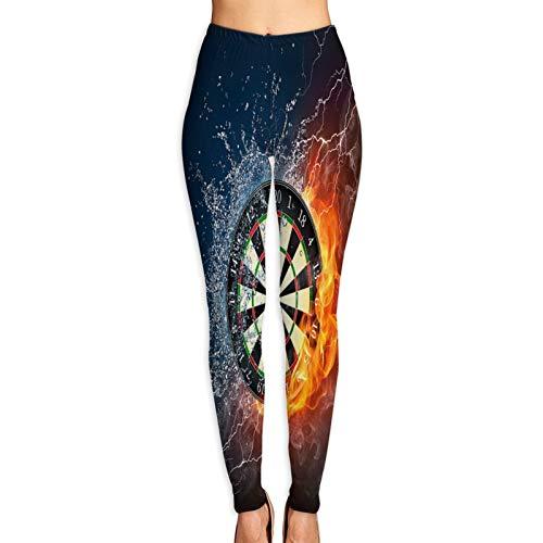 Benle Yogahosen Damen,Dartscheibe in Feuer und Wasser isoliert auf schwarzem Hintergrund,Hoch taillierte Trainingshose Gedruckte Yoga Stretch Strumpfhose M