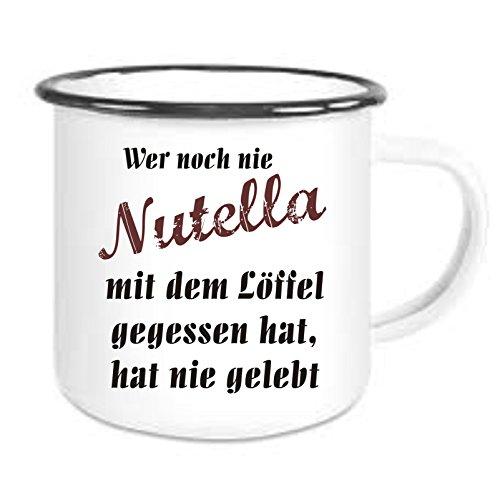 crealuxe emailmok met rand Wer Noch Nie Nutella met Der lepel gegegeten Hat, Hat Nie Gebt - Koffiemok met motief, bedrukte emailmok met spreuken of afbeeldingen