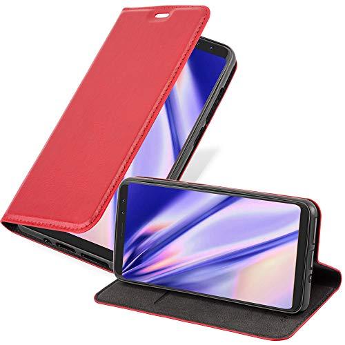 Cadorabo Hülle für WIKO View Prime in Apfel ROT - Handyhülle mit Magnetverschluss, Standfunktion & Kartenfach - Hülle Cover Schutzhülle Etui Tasche Book Klapp Style