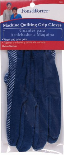Dritz Fons & Porter 7855 Machine Quilting Grip Gloves, Blue, Size Medium