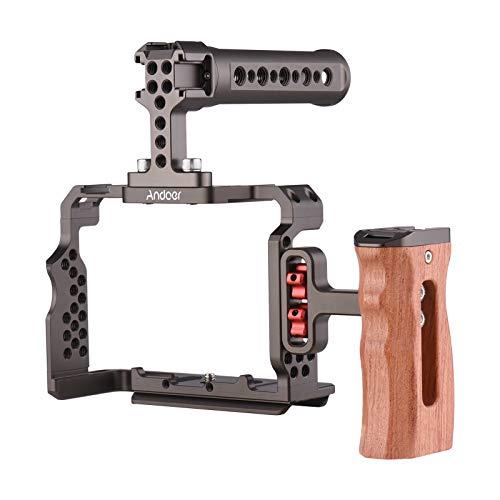 Video Cage, Kit de gaiola para câmera de liga de alumínio com alça superior de plataforma de vídeo Punho de madeira compatível com Sony A7R III / A7 II / A7III