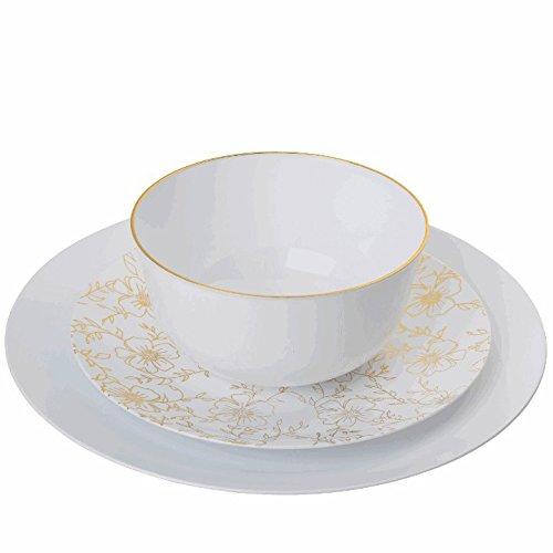 Trendables 60 - Pack Combo Premium Disposable Plastic Plates, Food Grade Plastic Dinner Plates - Versa Design Includes: 20 x 10.25 Dinner Plates - 20 x 8 Salad - 20 x 24 oz. Salad/Soup Bowls