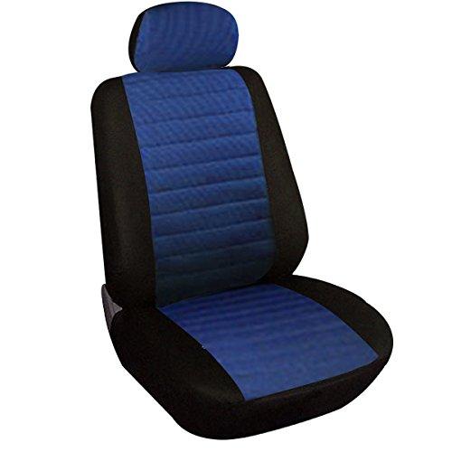 WOLTU 1x Fundas de Asiento para Coche Universal Delantero Cubierta para Asiento Automóvil sin Bolsa de Aire Poliéster Azul 7232-1