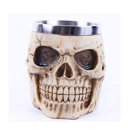 JIAJU Schädel-Becher-Edelstahl-3D Schädel-Becher, Edelstahl-Schädel-Kaffeetasse für Getränk, Bier, Blutsaft, mittelalterlicher Viking-Krieger-Schädel-Rüstung Drinkware Becher