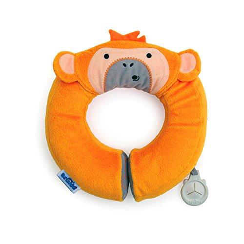 Trunki Kid's Travel Neck Pillow & Chin Support - Yondi SMALL Mylo Monkey (Orange)