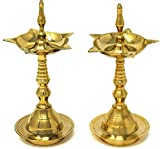 Hashcart Brass Puja Oil Diya Lamp Engraved Design Deepak Pooja Article Kerela Dia - Set Of 2