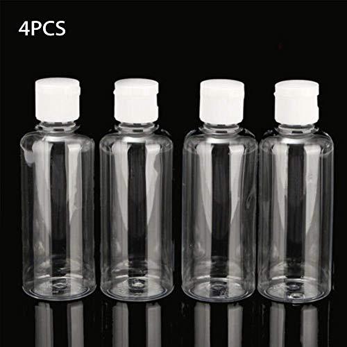 xiegons0 Kunststoff Reise Flasche, 4pcs 100ml Multifunktional Mini Transparent Leer Flasche Behälter Makeup Flasche mit Flip Kappen für Reisen Hygieneartikel - Wie Bild Show, 4pcs