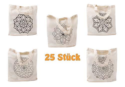 Cottonbagjoe | kleine Stofftasche zum Ausmalen | Bedruckt | Mandalas | 5 Motive | Kurze Henkel | DIN A4 | Geschenktasche | Jutebeutel | Baumwolltasche | Kindergarten, Schule | Natur | 25 Stück