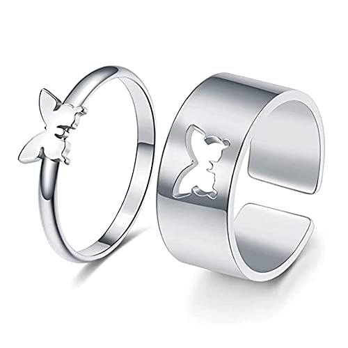matching rings TikTok Butterfly pinky Promise Ring set 2pcs Cute Matching Butterfly Ring Couple Ring Couples Jewelry for women and Girls