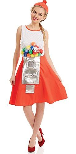 Fun Shack Disfraz de mquina de chicles para Mujer. Traje de dispensador de Dulces para Adultos, Talla L
