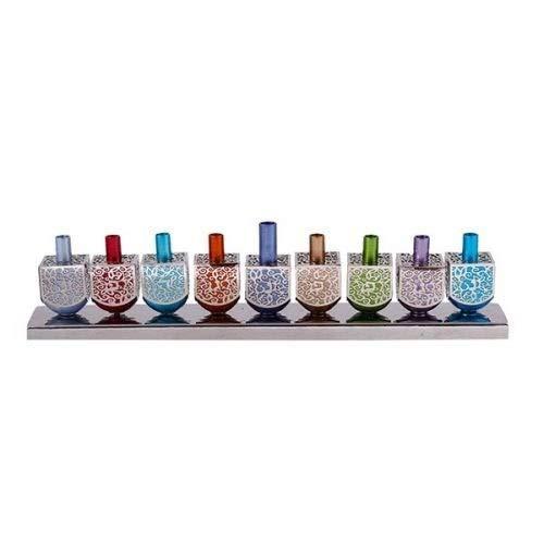 Yair Emanuel Candle Menorah - 9 Multi Colored Aluminum Dreidels with Metal Cutouts Candle Holder Chanukah Menorah - Fits Standard Hanukkah Candles