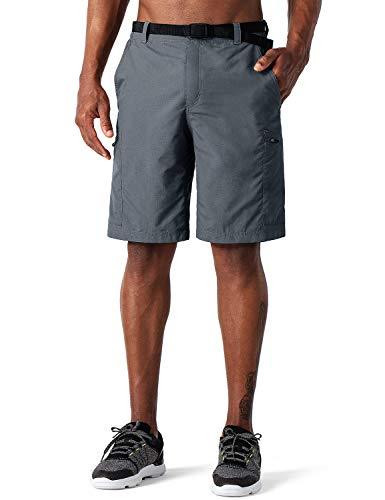 NAVISKIN Herren Wandershorts UV-Schutz Bermuda Shorts Kurze Trekkinghose atmungsaktiv Knielang Outdoorhose RV-Taschen UPF 50+ Grau Größe L